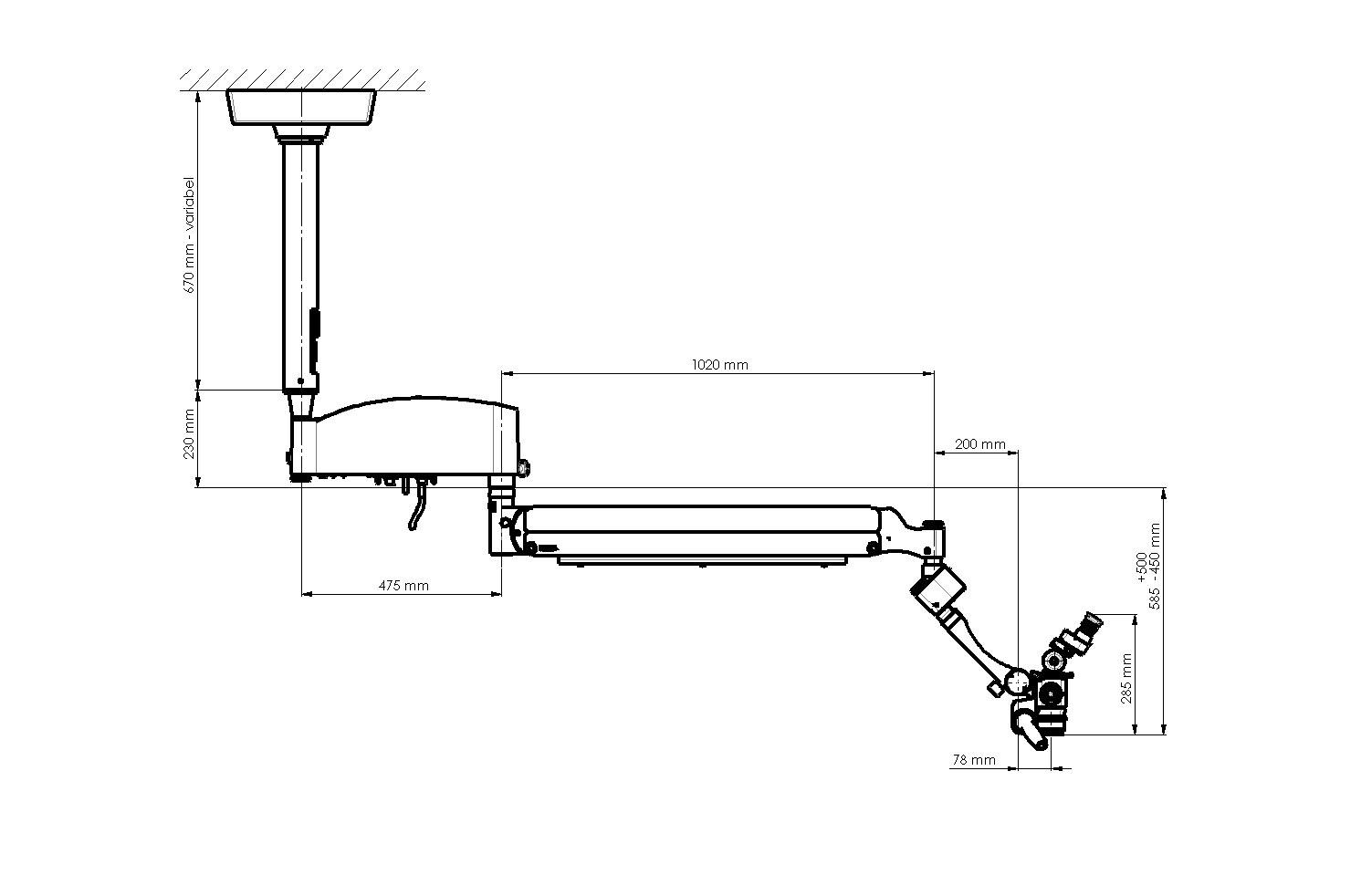 Kaps Dental Mikroskop 1100 - 1450 Decke